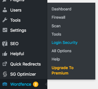 Wordfence Login Security submenu